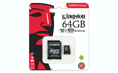 Genuine Kingston Canvas Select 64GB Micro SD SDXC card 80MB/s, UK Seller, Retail