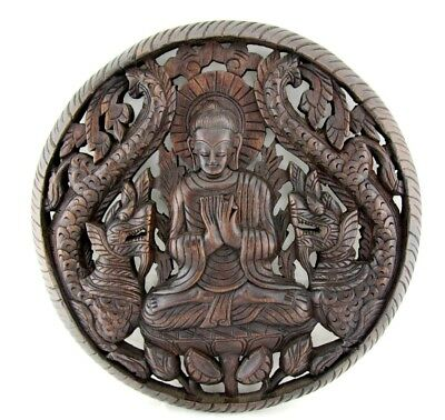 """Large Buddha Wall Sculpture Hand Carved Wood Dragon Teak Carving Wall Relief 18"""""""
