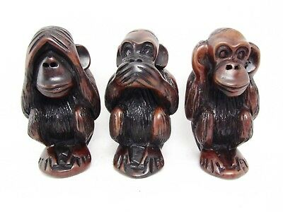 3 Three Wise Monkeys Say No Evil Hear No Evil Speak No Evil Resin Figurines 4.5""