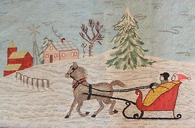 Antique Country Folk Art pictorial Hooked Rug New England Americana Horse Sleigh