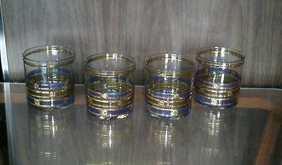 4 Vintage Mid Century Blue, Green & Gold Rocks Drinking Glasses ...Culver Maybe?