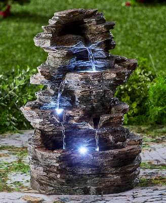 Stacked Stone Look Zen Garden Waterfall LED Lighted Water Fountain NEW