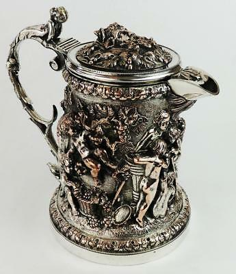 FINE GREAT EXHIBITION STYLE Victorian ELECTROPLATED SILVER PLATE WINE JUG c1850