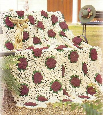 Crochet Pattern Beautiful Rose Trellis Afghan Instructions