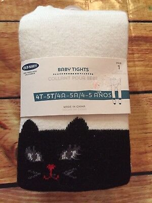 Old Navy Girls Size 4T 5T White Black Kitty Kitten Face Knit Tights NWT