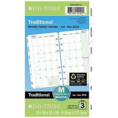 """Day-Timer Refill 2018, Two Page Per Month, January 2018 - December 2018, 3-3/4"""""""