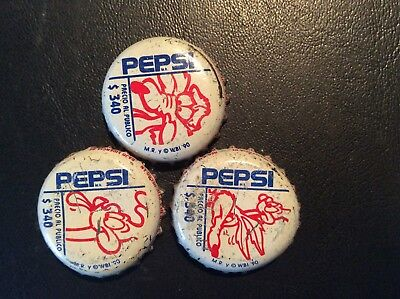 3 Pepsi  Coyote and Road Runner  Soda  Bottle Caps - used   - Plastic Lined