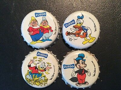 4  Disney Cartoon Characters  Soda  Bottle Caps - used   - Plastic Lined