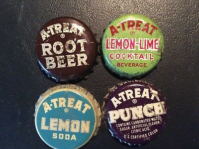 4  Different  A - Treat  Soda  Bottle Caps - used   - Cork Lined