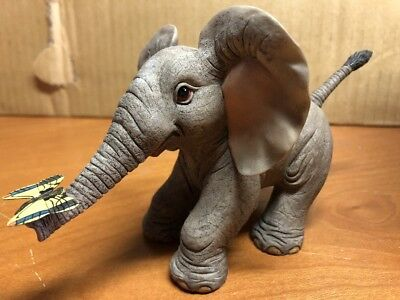 Tuskers Adventures Of Henry Flutter By Elephant Sculpture With Butterfly #90763