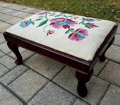 Vintage mahogany Queen Anne Style original needlepoint covered footstool ottoman
