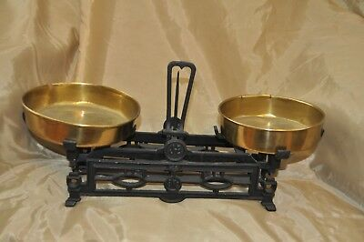 Antique Cast Iron Balance Scale with Brass Pans