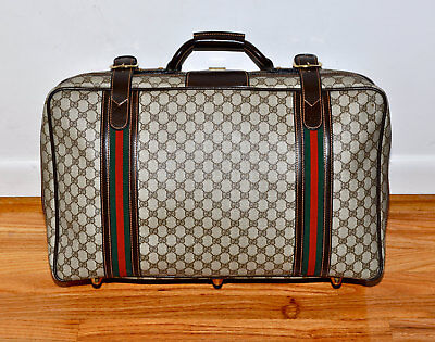 "Vintage 80s GUCCI GG Monogram 23"" Inch Suitcase Luggage Travel Bag VERY RARE"