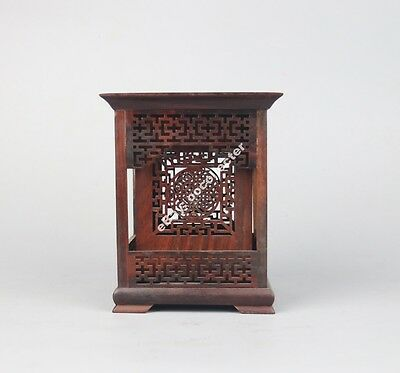 Chinese red suanzhi wood rosewood carved flower figure square brush pot