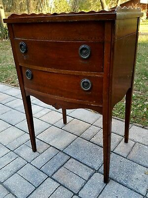 Antique bow front Mahogany sewing cabinet stand end table lift lid tray 2 drawer