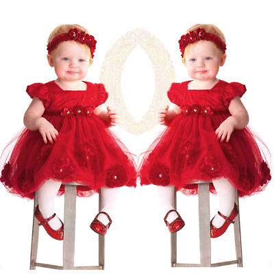 Girls Kid Baby Princess Wedding Party Pageant Tulle Tutu Flower Dress + Headband