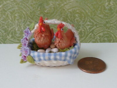 J. Dunn Miniature 1:12 White Basket with Hens