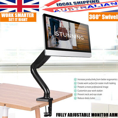 360°Swivel Single Arm HD LED Desk Mount Monitor Stand 1 Display Screen TV Holder