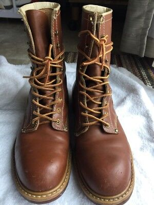 Vintage 'Used' Men's Hy-Test Steel Toe Farm Work Boots Brown Size 9 B