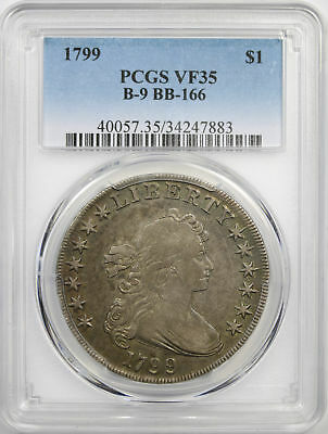 1799 $1 Draped Bust Dollar B-9 BB-166 PCGS VF35