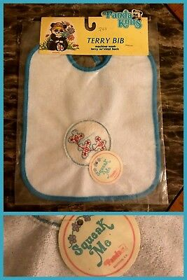 1970s VNTAGE BABY BIB Terry Cloth Squeak Toy Vinyl Back Airplane Blue White NEW