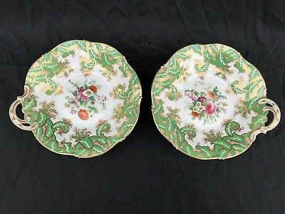 Pair Early Coalport / Ridgway Footed Serving Dishes Hand Painted