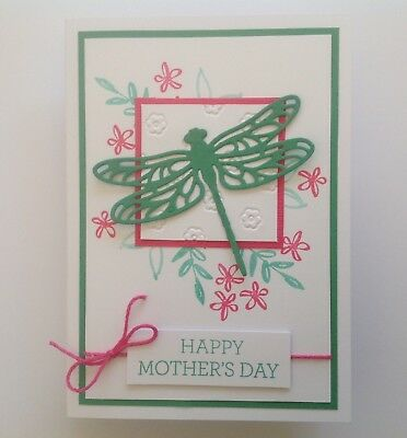 Handmade Mother's Day card: Garden Dragonfly green/ Hot pink.