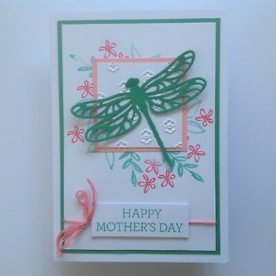 Handmade Mother's Day card: Garden Dragonfly green/ Pink.