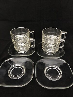 4 X Vintage Joe Colombo Clear Glass Cups & Saucer Made In Italy By ITALORE.