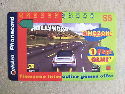 Mint $5 Timezone Hollywood Car Phonecard Prefix 1400 High and Thick $5 at Back