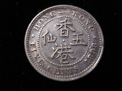 Hong Kong 1898 5 Cents High Grade Silver Coin #KD1