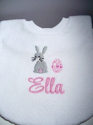 Personalised Easter Bunny Baby Bib Embroidered GIFT New Any Name- Blue or Pink