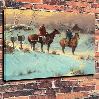 Home Deco Art Canvas Print, Oil Painting Western, Cowboy, Letter From Home,16x20