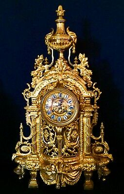 "Outstanding Huge Empire French Antique Gilt Bronze Clock 19Th 32.5Lbs  28.5""H"