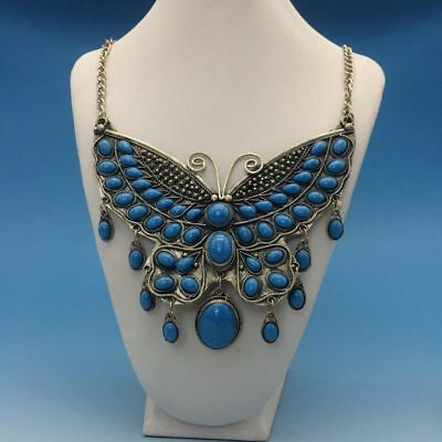 Chinese Artificial Turquoise Hand Sculpture Butterfly Statue Necklace 4.26xl01