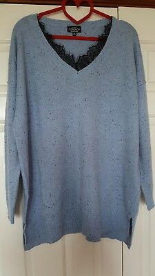 Topshop Pale Blue Wool blend Jumper with Lace insert Size 12 Maternity