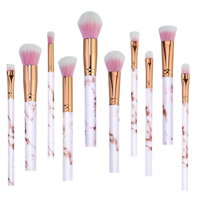 Pink Make Up Brushes Professional 10 Pieces Marble Pattern Makeup Brushes Set Fo