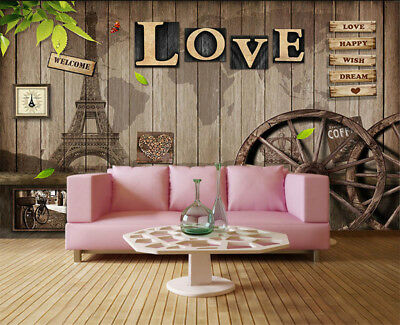 Retro Pulpy Words 3D Full Wall Mural Photo Wallpaper Printing Home Kids Decor