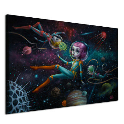 Unframed Spray Printed Oil Painting Space Traveling Girl Wall Decor Art