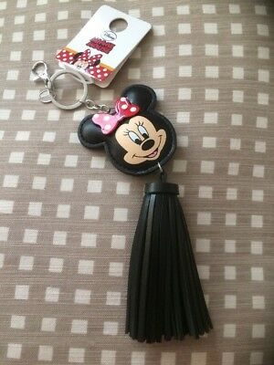 BNWT Disney Primark Minnie Mouse Black Tassel Keyring / Bag Charm