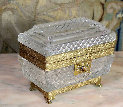 Antique French Empire Cut Cristal and Dore Bronze Ormolu Casket