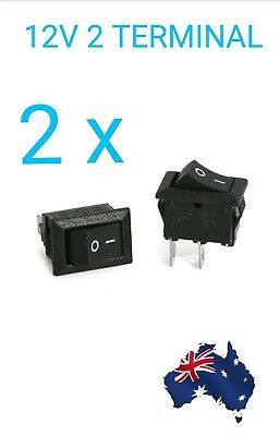 2 x  2 Pin 12V Car Boat Round Dot Light ON/OFF Rocker Toggle Switch In Aus Stock