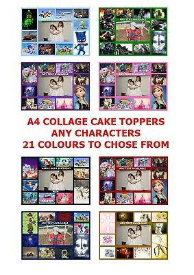 Own Personalised Photo & Character Collage A4 Edible Cake Topper Custom Made