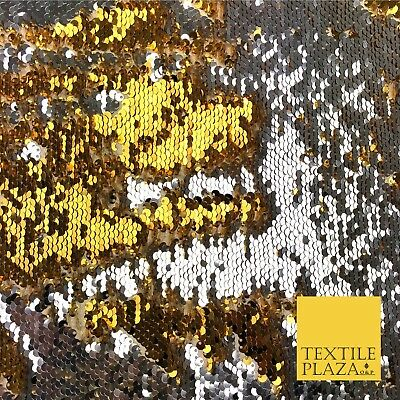 Reversible Gold & Silver MERMAID SEQUIN Fabric 2 Colour Way Changing Net KH245