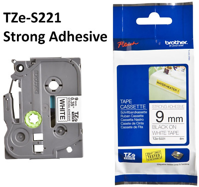 Brother TZe-S221 P-touch Tape 9mm TZ-221 PT1010/1090 Strong Adhesive Black White