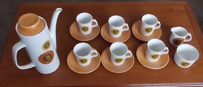 J & G. Meakin Sunflowers Coffee Set Retro