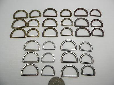 "New Brass, Bronze, Silver & Old Iron Metal D Rings for 5/8"" & 3/4"" Webbing  #DR1"