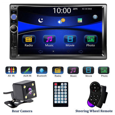 """7"""" Double 2 DIN Car Stereo Audio Bluetooth Touch MP3 Player USB FM Radio+ Camera"""