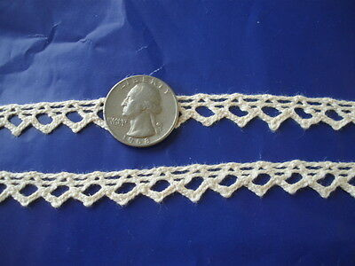 11MM Antique White Chevron Cluny Lace Cotton crochet trim natural 10 yard lots