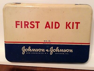 Vintage rare metal First Aid Kit with Red Cross products collectible $$$$$